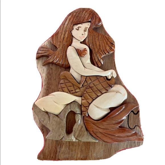 Little Mermaid Wooden Puzzle Jewelry Box